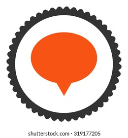 Banner round stamp icon. This flat glyph symbol is drawn with orange and gray colors on a white background.