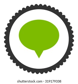 Banner round stamp icon. This flat glyph symbol is drawn with eco green and gray colors on a white background.