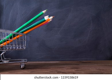 banner of shopping cart with school , back to school concept.