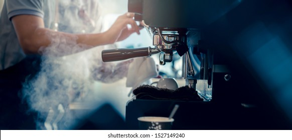 banner size of barista working makeing coffee with coffee machine color tone