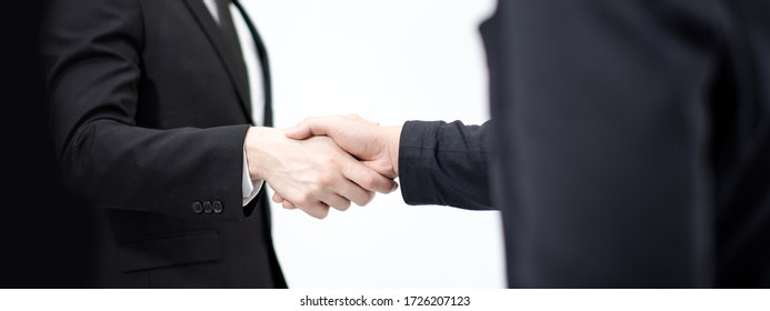 banner size of handshake business people after contract deal agreement completed in minimal clean style white background