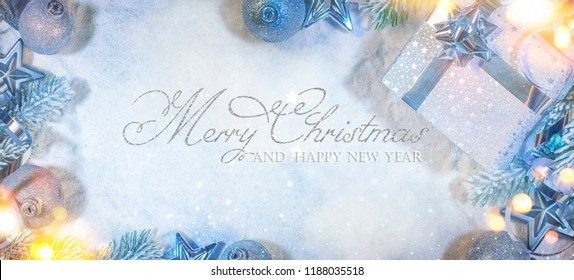 Banner with sparkling Christmas glitter ornaments, Holiday background for Merry Christmas and Happy New Year