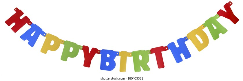 Banner spelling Happy Birthday on white background