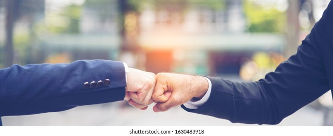 Banner template Partner Business Trust Teamwork Partnership. Industry contractor fist bump dealing mission business. Mission team meeting group of People Fist bump Hands together. Business Concept