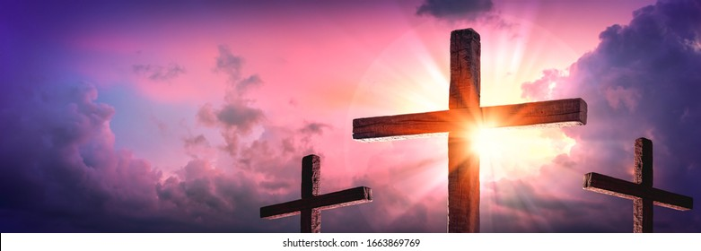 Banner Of Three Wooden Crosses With Sunrise And Clouds Background - Death And Resurrection Of Jesus Christ