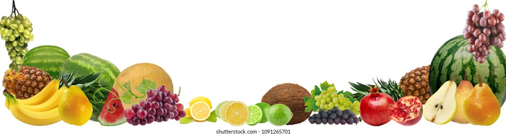 Banner with a variety of fruits on a white background