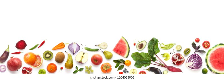 Banner from various vegetables and fruits isolated on white background, top view, creative flat layout. Concept of healthy eating, food background. Frame of vegetables with space for text. - Shutterstock ID 1104033908
