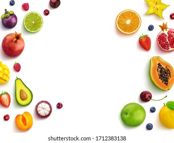 Banner from various vegetables and fruits isolated on white background,  top view, creative flat layout. Concept of healthy eating, food background.  Frame of vegetables with space for text.