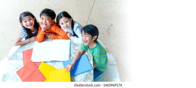 Banner Web Design Ratio of Asian Children at International School, Study using Laptop, Smart phone
