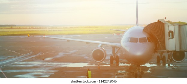 banner for website, airplane taking off from the airport. fragment of the body of aircraft. business travel concept vintage style picture