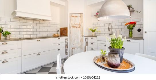 Banner of white fancy kitchen interior