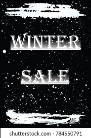 Banner Winter sale - brush stroke, falling snow on a black background -  bitmap image