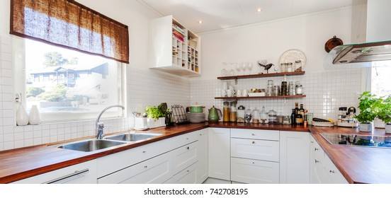 banner of wooden counter top in fancy kitchen