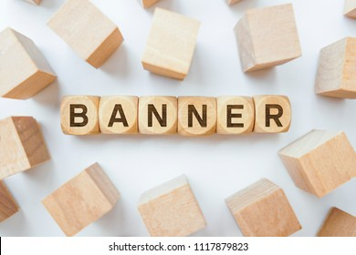 Banner word on wooden cubes