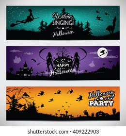 Banners for Halloween. Beautiful backgrounds with cartoon silhouette of a witch. Raster image.