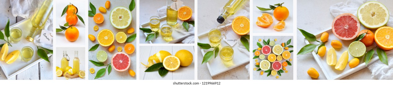 Banners set of citrus fruits and alcohol drinks. Fresh organic juicy fruit - mandarin, lemon, grapefruit. Orange flavored liqueur, Italian Limoncello liquor, tangerine tincture.