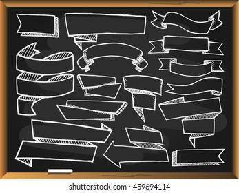 Banners set on blackboard background. Free hand drawn. illustration.
