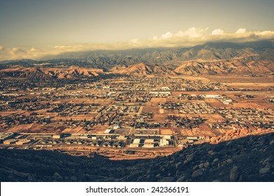 Banning California Panorama and San Bernardino Mountains at Sunset. Banning is a City in Riverside County, California, United States