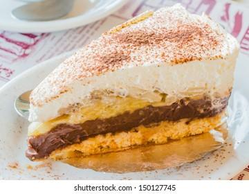 Banoffee cake in white dish