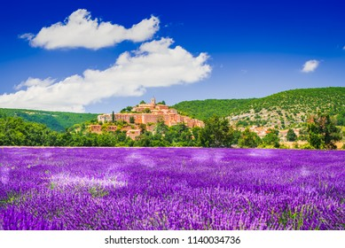 Banon, hilltop village in Provence with lavender fields, France.