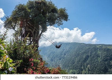 Banos, Ecuador - December 12, 2017: The Swing At The End Of The World Located At Casa Del Arbol, The Tree House In Banos De Aqua Santa, Ecuador, South America