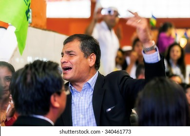 Banos, Ecuador - June 18, 2015: Rafael Correa, The President Of Ecuador, At A Public Appearance Speaks About Plans And Projects That Are Meant To Develop The Country, South America