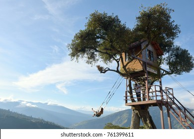 Banos, Ecuador - November 22, 2017: The Swing At The End Of The World Located At Casa Del Arbol, The Tree House In Banos De Aqua Santa, Ecuador, South America