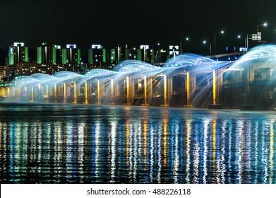 Banpo bridge at located in Seoul, South Korea