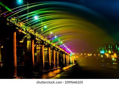 Banpo Bridge Rainbow Fountain is world's longest fountain bridge located in downtown Seoul along with Hangang River.