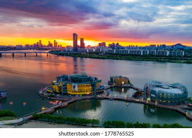 Banpo, Seocho-gu, Seoul, South Korea - May 20, 2020: Aerial view of Sebit Floating Island on Han River at sunset