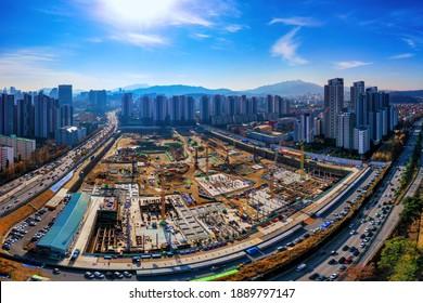 Banpo, Seocho-gu, Seoul, South Korea - November 21, 2020: Aerial view of redevelopment construction site of Sinbanpo 3rd Apartment with Olympic boulevard near Han River Citizen Park
