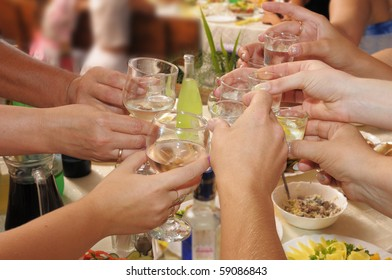 Banquet - the group of people drinks alcoholic drinks.