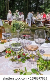 Banquet with guests in a garden