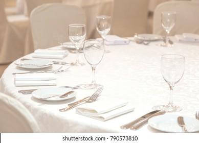 Banquet hall. Beautiful restaurant. Laid table. Table setting. Restaurant interior. Preparing to feast