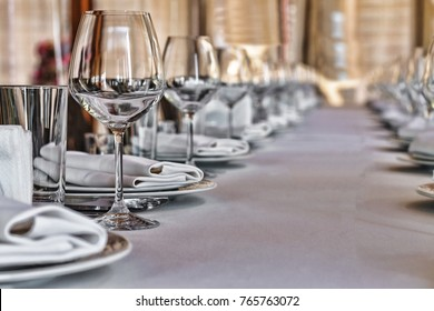 Banquet hall in the restaurant. Concept: Serving. Celebration. Anniversary. Wedding