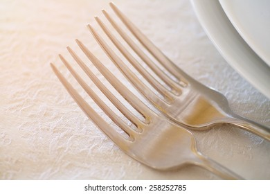 At the banquet table are fork. The Wedding banquet