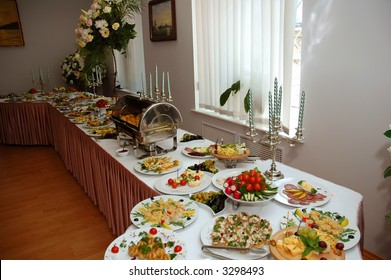 banquet table full of food