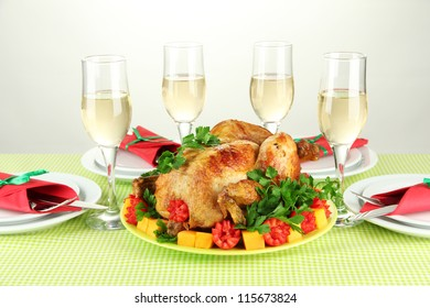 banquet table with roast chicken on white background close-up. Thanksgiving Day