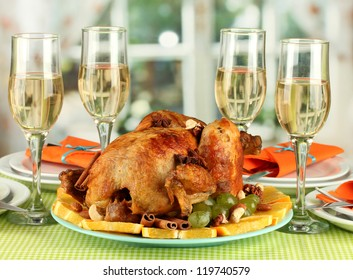 banquet table with roasted chicken close-up. Thanksgiving Day
