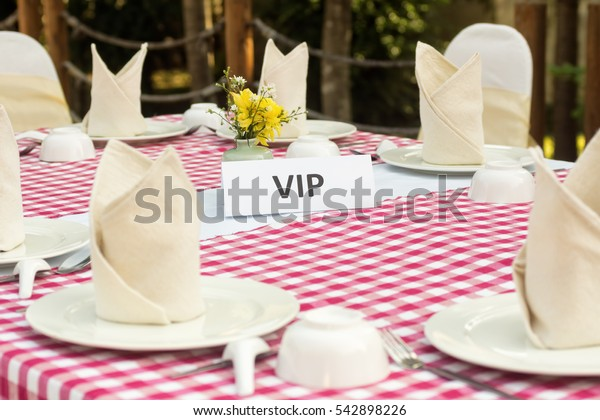 banquet table served in Thai style for VIP. Holiday, wedding celebration concept.