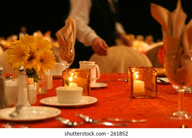 Banquet table setting.