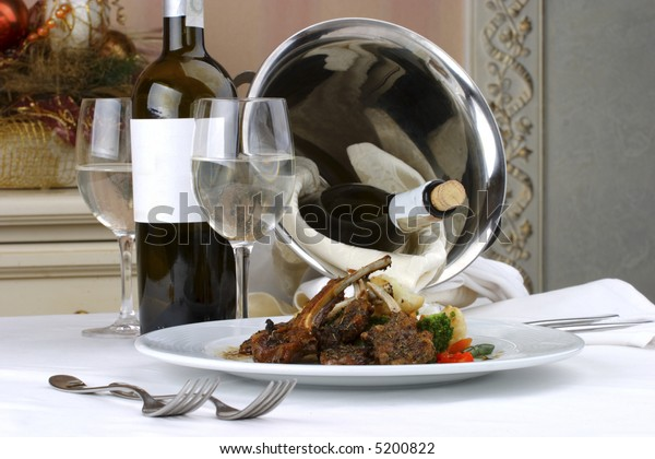 Banquet table setting, meat