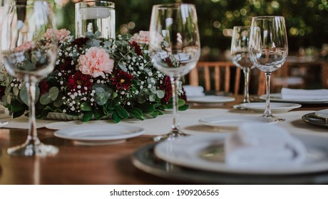 banquet and wedding food glasses