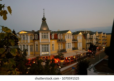 Bansin, Germany - August 16, 2017: Impressions from the spa style of the small town Bansin, Usedom at the Baltic Sea in the dusk
