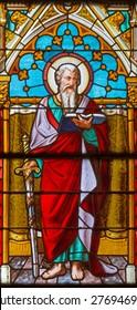 BANSKA BELA, SLOVAKIA - FEBRUARY 5, 2015: The St. Pautl the Apostle on the windowpane of St. John the Evangelist church from end of 19. cent.