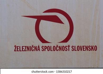 Banska Bysrica, Slovakia - November 19, 2019: Symbol of Slovakia railway. (Železničná spoločnosť Slovensko), a.s. (ZSSK) is Slovak state-owned passenger train company based in Bratislava