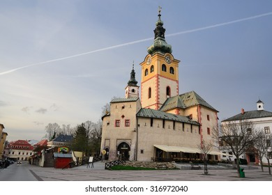Banska Bystrica - April 13: Town Castle Barbakan at evening in Banska Bystrica, Slovakia on April 13, 2015. Castle located at the edge of SNP Square of Banska Bystrica town in Slovakia.