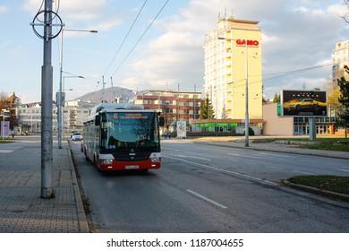 Banska Bystrica. November 4, 2017. Trolleybus on the street in Banska Bystrica, public transport at city street.