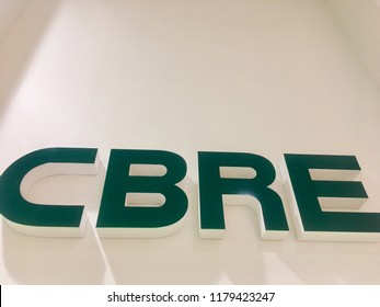 BANSKA BYSTRICA, SLOVAKIA - 14 SEPTEMBER: Logo of CBRE company on September, 14 2018. CBRE is an international company in commercial real estate market.
