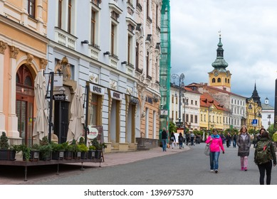 Banska Bystrica, Slovakia - Apr 29, 2019: Locals and tourists walking in the pedestrian zone in teh town of Banska Bystrica in central Slovakia